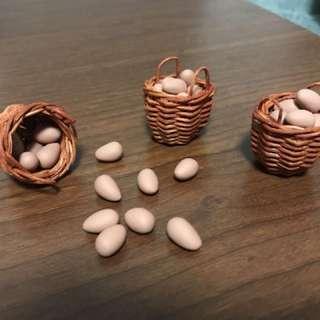 Handmade Miniature eggs on rattan basket @ $8 each