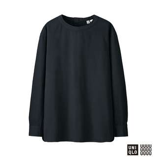 WOMEN Uniqlo U Denim Long Sleeve T Blouse in Black