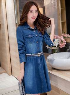AO/MKC070906 - Fashion Turn-Down Collar Flouncing Denim A-Line Dress