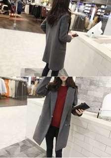 韓版女裝深灰中長款暖和夾棉毛呢大衣