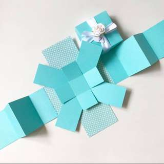 Diy tiffany blue / mint blank 3 layers Explosion Box card