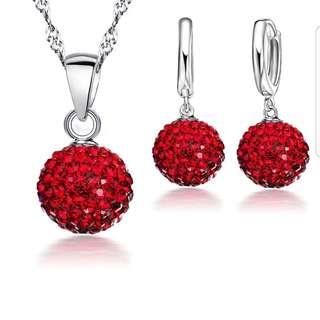 Crystal Pendant Necklace Dangle Earrings Set Elegant 925 Sterling Silver