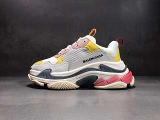 升級版  Balenciaga Tripe-S 巴黎世家複古老爹鞋,白黃粉 尺碼:35--39