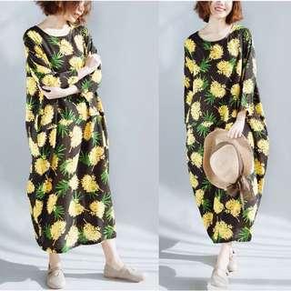 2018 Plus size comfy Korea Floral loose cotton dress