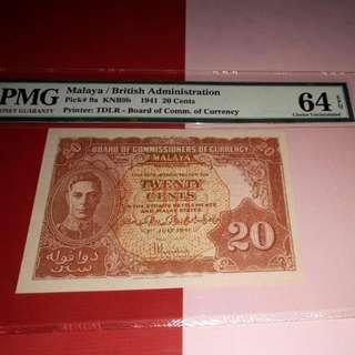 1941.20cents.pick 9a.malaya pmg64epq.