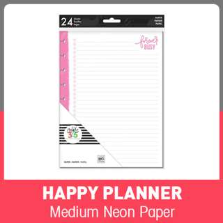 Medium Happy Planner Neon Forever Busy Fill Paper