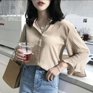 [PO] Chiffon Ruffled Sleeve Shirt