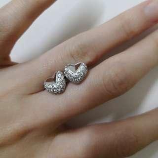18k白金真鑽石耳環
