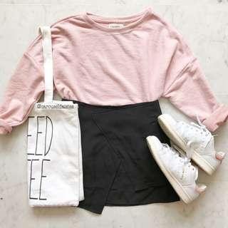 Korean Ulzzang Angled Mini Skirt Black