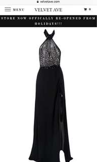 High neck scaled Sequin gown