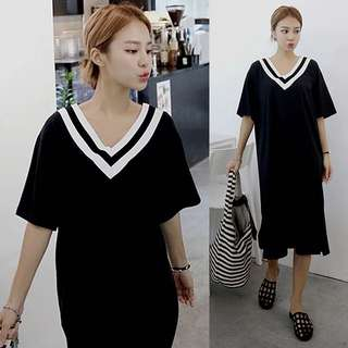 (M~XL) Loose Fitting 2018 spring and summer loose long T shirt over knee stripes cotton dress female half-sleeved Korean version