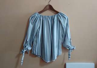 Blue-white Striped Off Shoulder Top