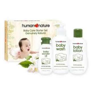Human Nature Baby Care Starter Set- Baby Wash 190ml, Baby Lotion190ml and Baby Wonder