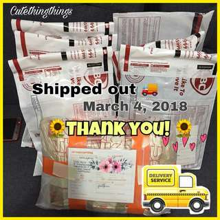 Shipped Out - March 4, 2018 😍 Thank you!