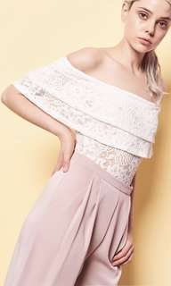 Valleygirl lace off shoulder crop top