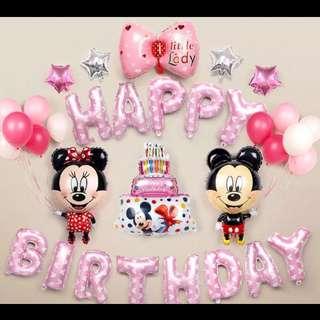 🦄 [Instock] Happy Birthday Party Decor Balloon Set - Mickey and Minnie