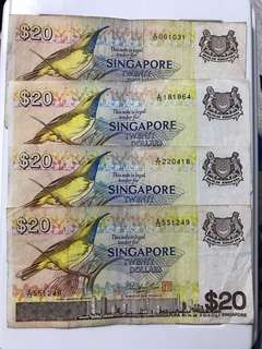 Singapore bird Series 20 Dollar Note