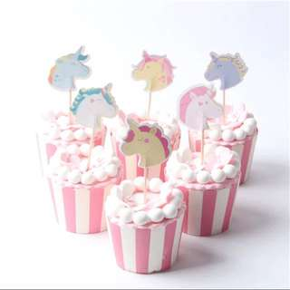 🌈 unicorn party supplies- cupcakes dessert toppers / candy bar deco / birthday deco