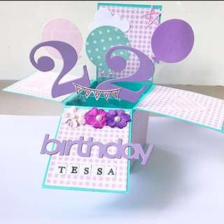 Happy 22nd Birthday Handmade Pop Up Card in Purple and blue