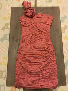 BCBG pink crinkled crepe knee-length dress