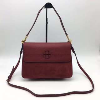 Tory Burch Maroon colour Mcgraw Shoulder Suede Bag
