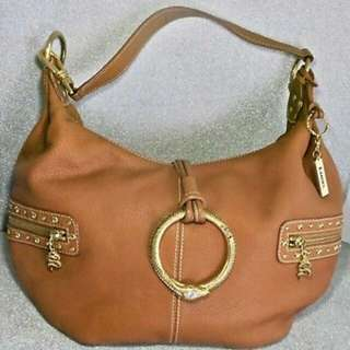Luce Camel Brown Leather Tote Satchel Handbag Purse with Key ring
