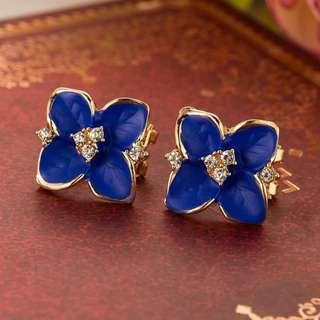 Blue Flower Earring / anting wanita / anting tusuk / anting import murah / anting bunga