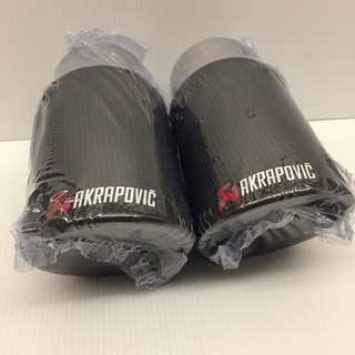 Rare Carbon Fiber Akarpovic Dual Exhaust Tips for VW Passat , Jetta, Civic FD,  Mazda 60 inlet- 80mm outlet