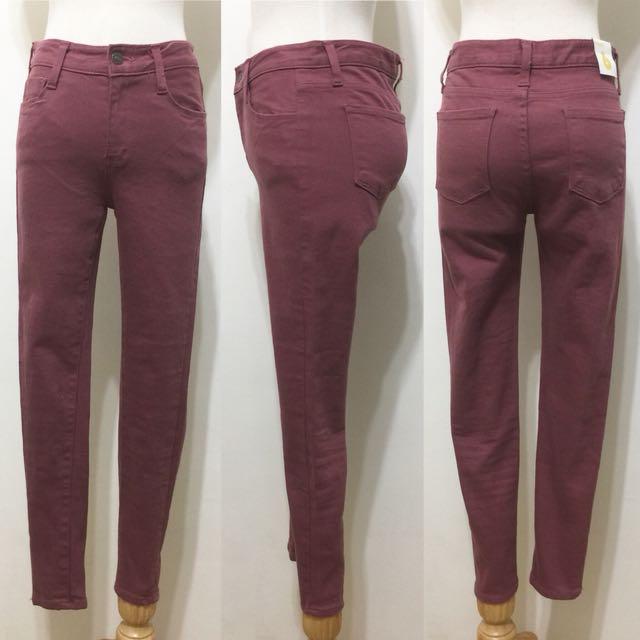 全新,韓製,煙燻髒粉紅牛仔窄管褲小腳褲,九分褲,26,S