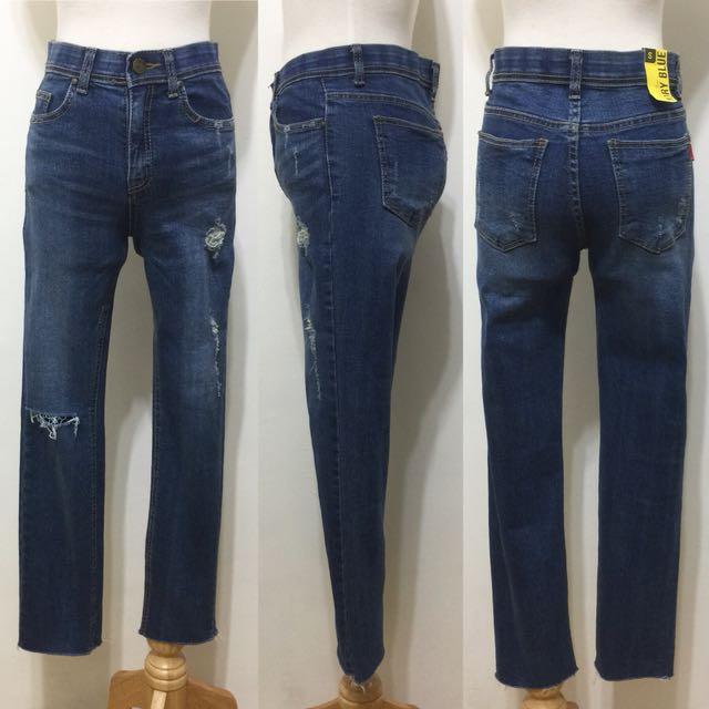 全新,韓製,超美刷色破破窄管褲直筒褲,九分褲,26,S