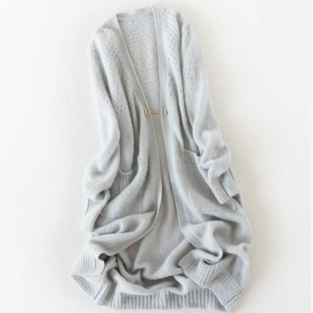 """""""未穿過超質感""""~32%安哥拉羊毛+28%羊毛针織衫中長款寬鬆感外套灰色"""