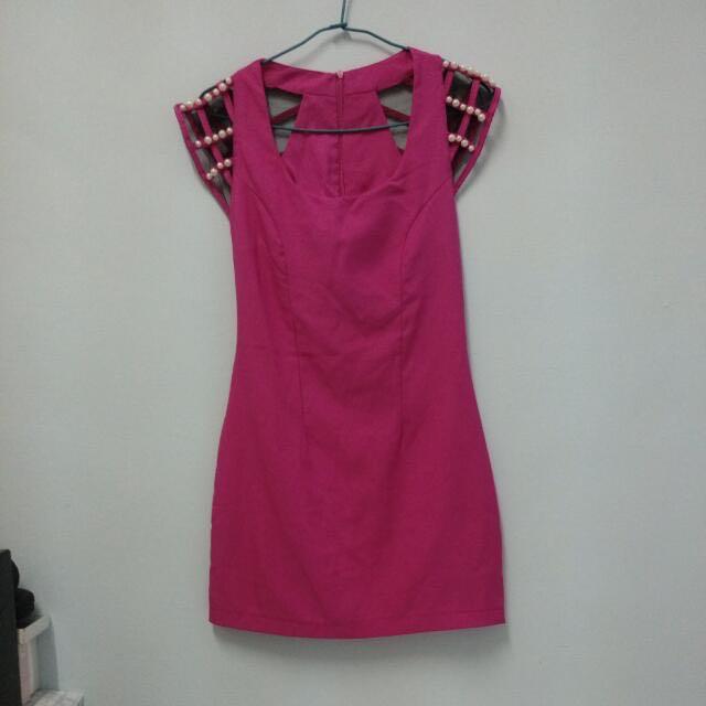 ✅桃紅珍珠網紗造型洋裝