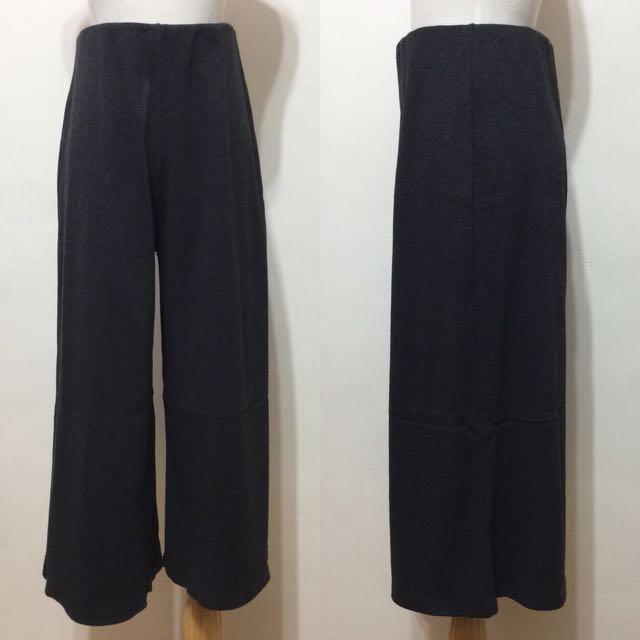 全新,超好搭,超顯瘦針織混棉坑條高腰寬褲,棉褲,深灰