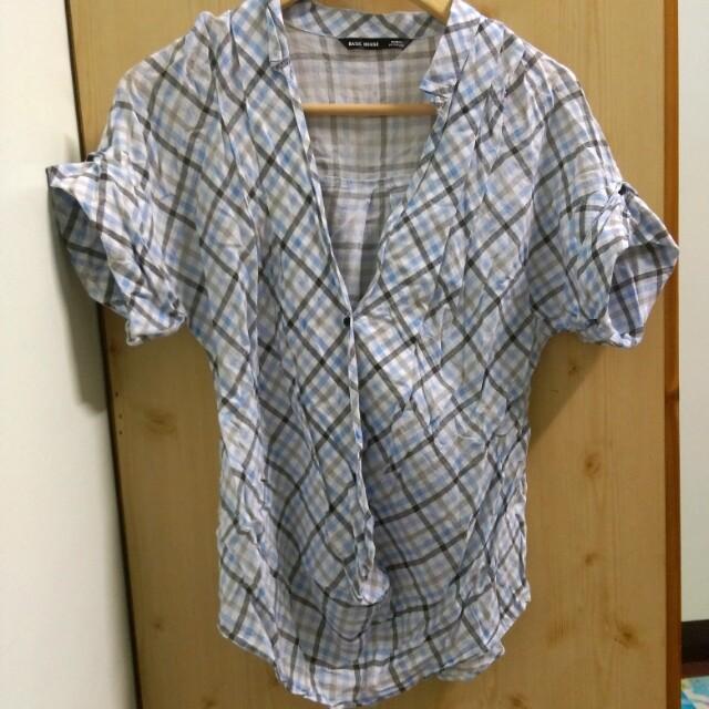 藍白短袖襯衫