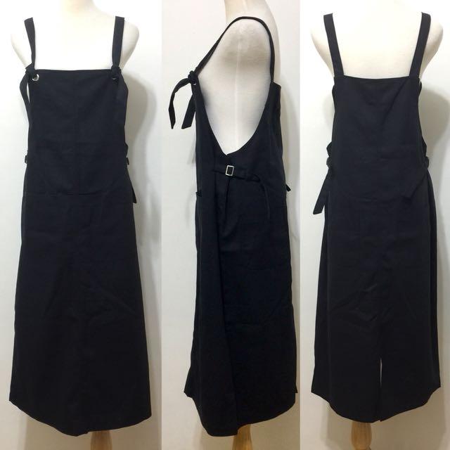 全新,韓製,實搭好穿綁帶造型背心裙,細帶長洋裝,黑