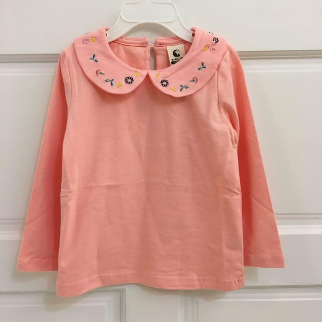 粉色薄款圓領繡花上衣