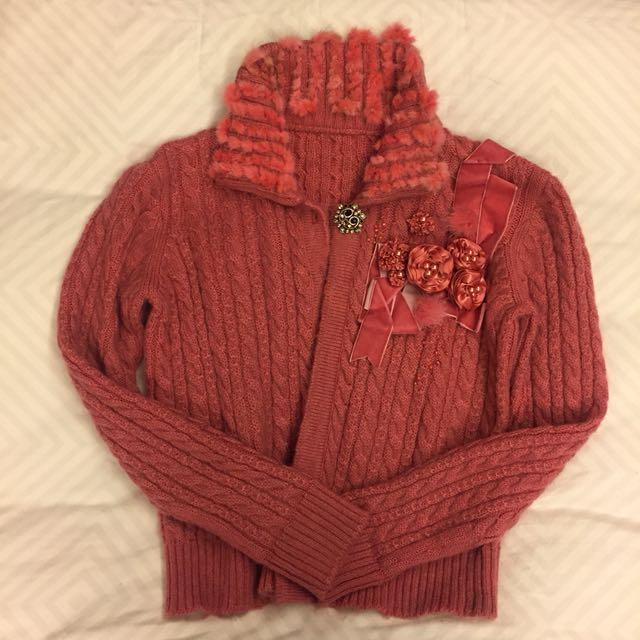 粉偶兔毛針織緞面玫瑰花短外套