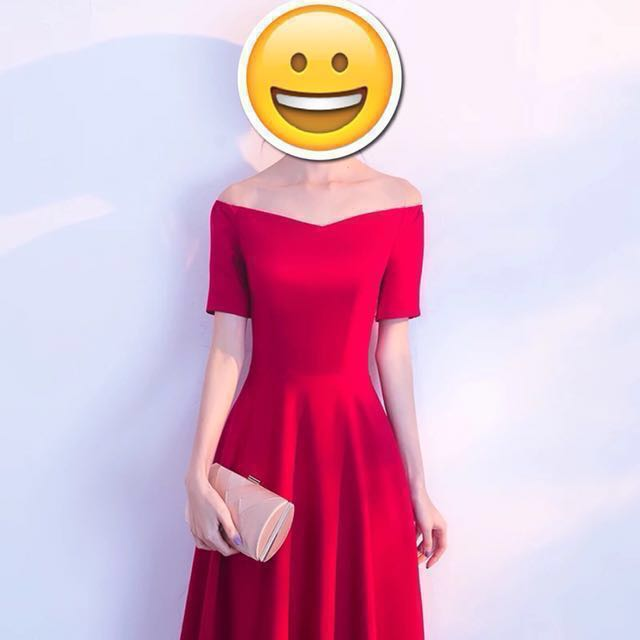 🆕婚禮一字領腰身平口紅色禮服👗尾牙/春酒/派對/新年/伴娘服