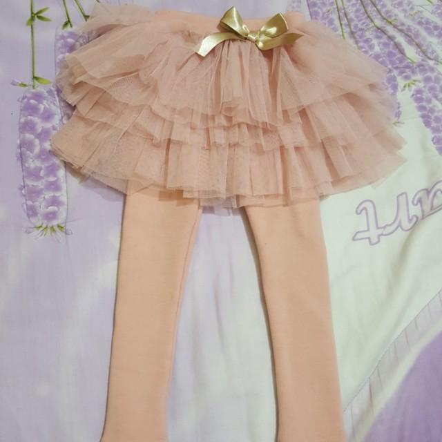 正韓藕粉紗裙內搭褲