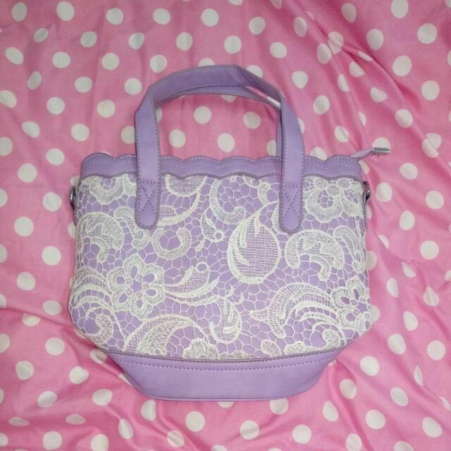 全新   紫色蕾絲包