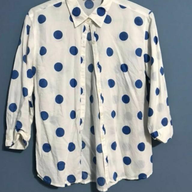 🔵古著 女孩別哭購入 白色 襯衫 藍色 點點 圓點 5or7分袖🔵