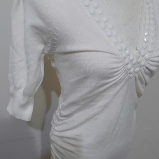 免運費 性感 白色 長版 夏天 鑽石 抓皺 短袖 上衣 洋裝 便宜 夜店 洋裝 二手衣 衣櫃 出清