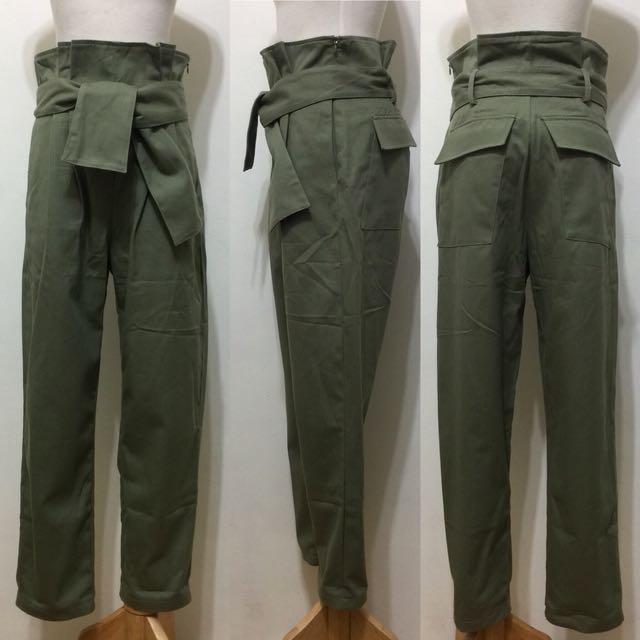 全新,韓製,高腰打折造型AB褲,男友褲,M,軍綠,附腰帶
