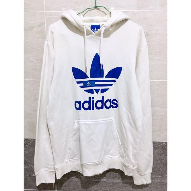 Adidas 白色寬鬆連帽上衣