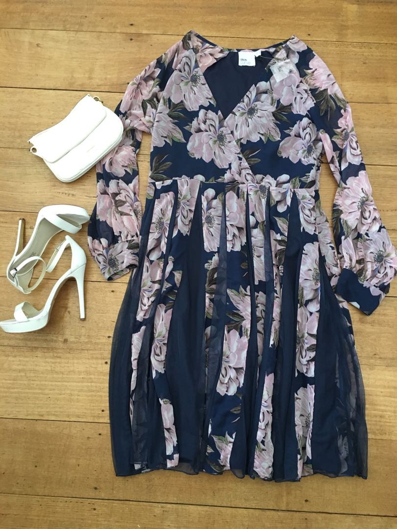 ASOS curve cocktail dress floral size 18 navy blush pink flowers