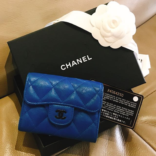 Authentic Chanel Lambskin Electric Blue Business Card Holder Luxury