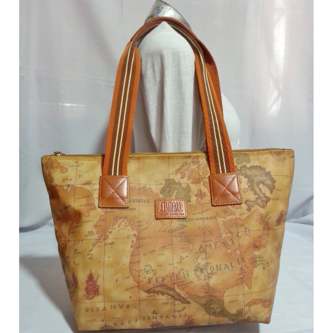 Authentic F'LASSE Alviero Martini Map International Tote Bag
