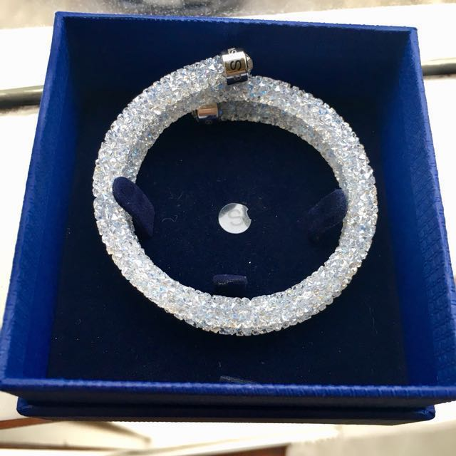 Authentic Swarovski crystal dust bangle in white