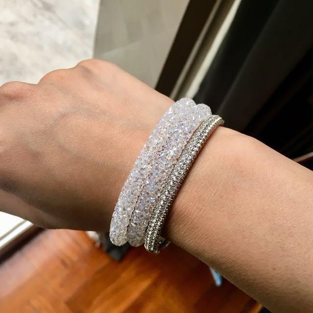 Authentic Swarovski crystal dust bangle in white