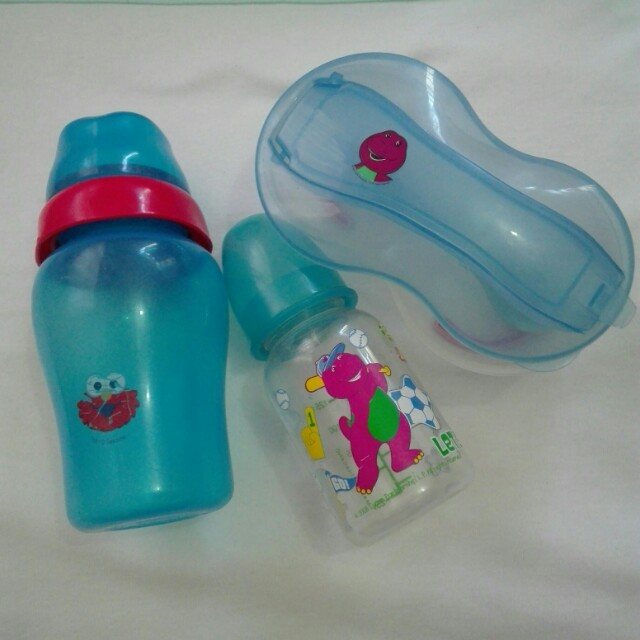 Baby bottles and feeding bowl